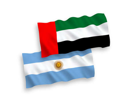 National vector fabric wave flags of United Arab Emirates and Argentina isolated on white background. 1 to 2 proportion.