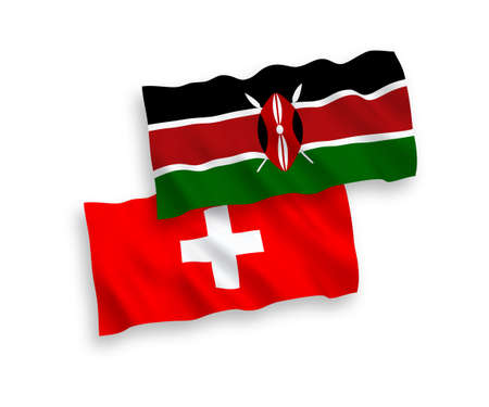 National vector fabric wave flags of Kenya and Switzerland isolated on white background. 1 to 2 proportion.
