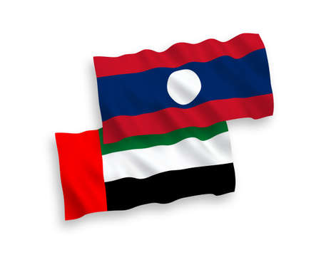 National vector fabric wave flags of United Arab Emirates and Laos isolated on white background. 1 to 2 proportion. 向量圖像