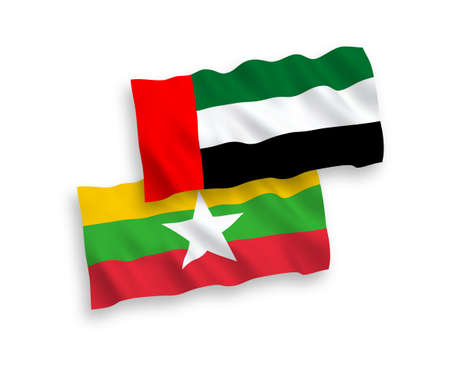National vector fabric wave flags of United Arab Emirates and Myanmar isolated on white background. 1 to 2 proportion.