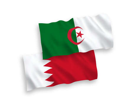 National vector fabric wave flags of Algeria and Bahrain isolated on white background. 1 to 2 proportion.