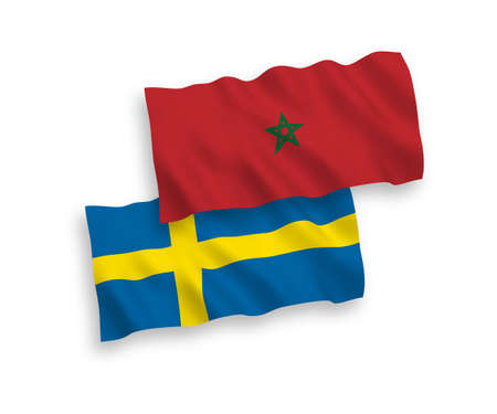 National vector fabric wave flags of Sweden and Morocco isolated on white background. 1 to 2 proportion. Stock Illustratie