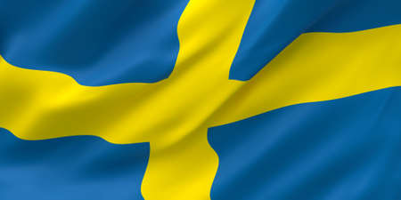 National Fabric Wave Closeup Flag of Sweden Waving in the Wind. 3d rendering illustration. Stockfoto