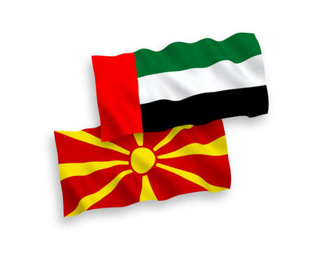 National vector fabric wave flags of United Arab Emirates and North Macedonia isolated on white background. 1 to 2 proportion.