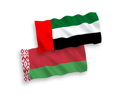 National vector fabric wave flags of United Arab Emirates and Belarus isolated on white background. 1 to 2 proportion. 向量圖像