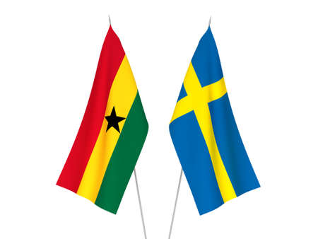 National fabric flags of Sweden and Ghana isolated on white background. 3d rendering illustration.
