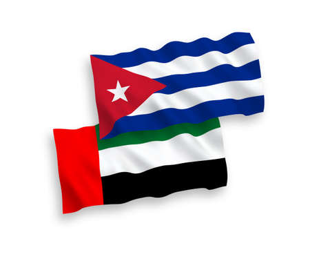 National vector fabric wave flags of United Arab Emirates and Cuba isolated on white background. 1 to 2 proportion.