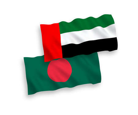 National vector fabric wave flags of United Arab Emirates and Bangladesh isolated on white background. 1 to 2 proportion.