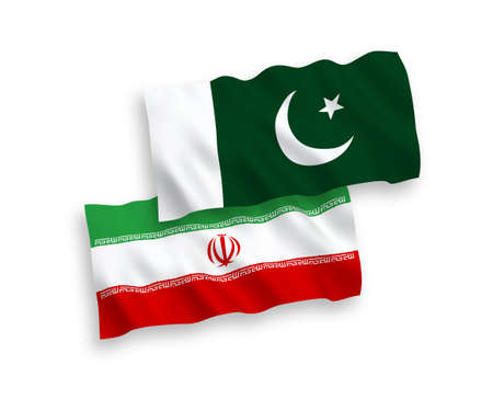 National vector fabric wave flags of Iran and Pakistan isolated on white background. 1 to 2 proportion.