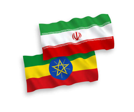 National vector fabric wave flags of Iran and Ethiopia isolated on white background. 1 to 2 proportion.