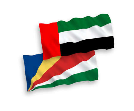 National vector fabric wave flags of United Arab Emirates and Seychelles isolated on white background. 1 to 2 proportion.