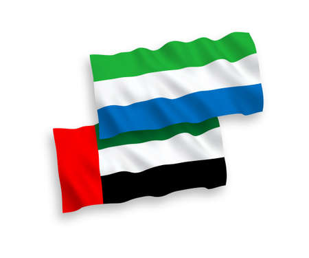 National vector fabric wave flags of United Arab Emirates and Sierra Leone isolated on white background. 1 to 2 proportion. 向量圖像