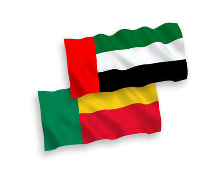 National vector fabric wave flags of United Arab Emirates and Benin isolated on white background. 1 to 2 proportion.