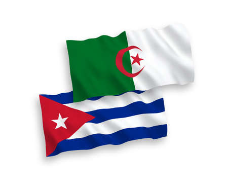 National vector fabric wave flags of Algeria and Cuba isolated on white background. 1 to 2 proportion.