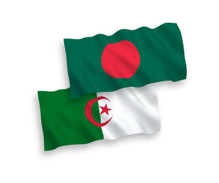 National vector fabric wave flags of Algeria and Bangladesh isolated on white background. 1 to 2 proportion.
