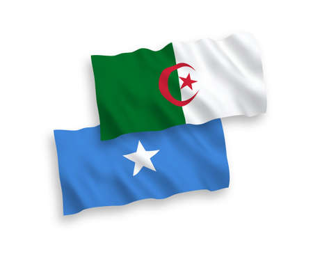 National vector fabric wave flags of Algeria and Somalia isolated on white background. 1 to 2 proportion.