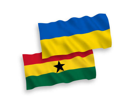National vector fabric wave flags of Ghana and Ukraine isolated on white background. 1 to 2 proportion.