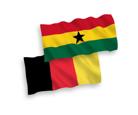 National vector fabric wave flags of Ghana and Belgium isolated on white background. 1 to 2 proportion.