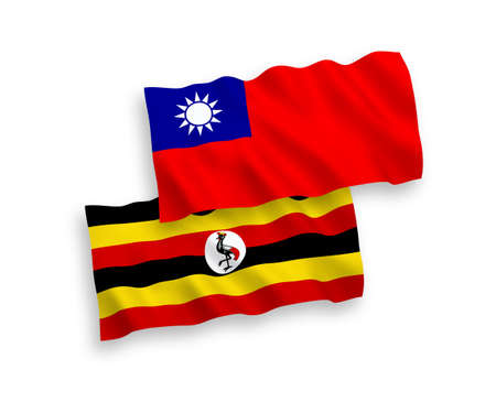 National vector fabric wave flags of Uganda and Taiwan isolated on white background. 1 to 2 proportion.