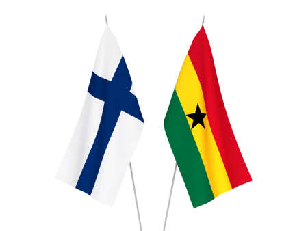 National fabric flags of Ghana and Finland isolated on white background. 3d rendering illustration. 版權商用圖片