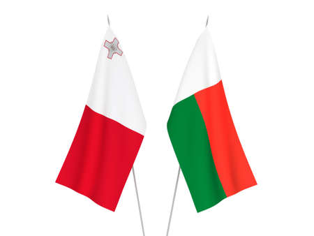 National fabric flags of Madagascar and Malta isolated on white background. 3d rendering illustration.