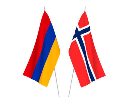 National fabric flags of Norway and Armenia isolated on white background. 3d rendering illustration.