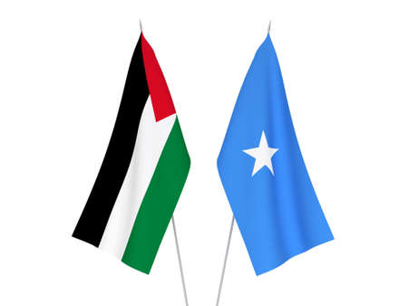 National fabric flags of Somalia and Palestine isolated on white background. 3d rendering illustration.