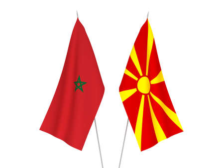 National fabric flags of North Macedonia and Morocco isolated on white background. 3d rendering illustration.