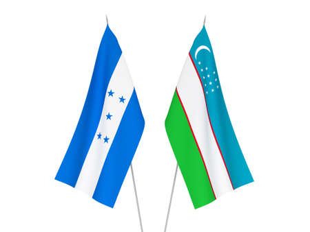 National fabric flags of Honduras and Uzbekistan isolated on white background. 3d rendering illustration.