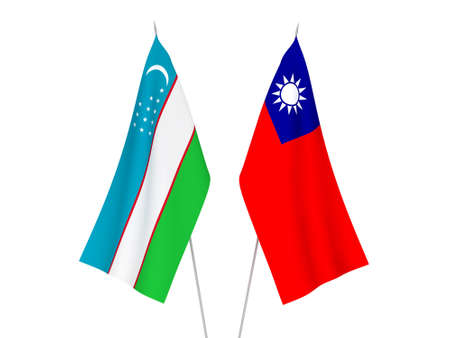 National fabric flags of Taiwan and Uzbekistan isolated on white background. 3d rendering illustration. 版權商用圖片