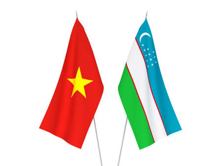 National fabric flags of Vietnam and Uzbekistan isolated on white background. 3d rendering illustration.