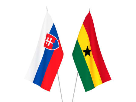 National fabric flags of Ghana and Slovakia isolated on white background. 3d rendering illustration.