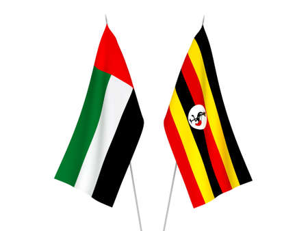 National fabric flags of United Arab Emirates and Uganda isolated on white background. 3d rendering illustration.