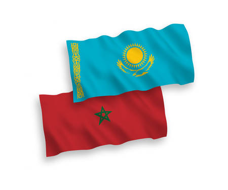 National vector fabric wave flags of Kazakhstan and Morocco isolated on white background. 1 to 2 proportion.