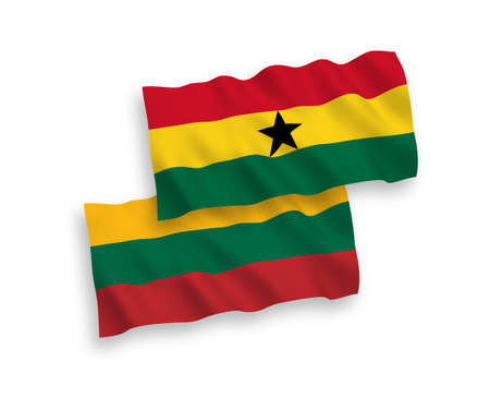 National vector fabric wave flags of Lithuania and Ghana isolated on white background. 1 to 2 proportion.
