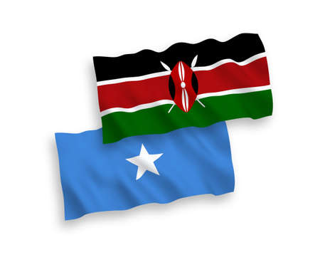 National vector fabric wave flags of Kenya and Somalia isolated on white background. 1 to 2 proportion. Vetores