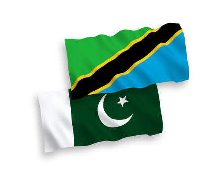 National vector fabric wave flags of Tanzania and Pakistan isolated on white background. 1 to 2 proportion.