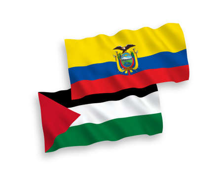 National vector fabric wave flags of Palestine and Ecuador isolated on white background. 1 to 2 proportion.