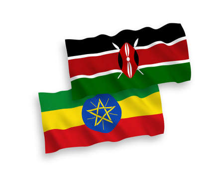 National vector fabric wave flags of Kenya and Ethiopia isolated on white background. 1 to 2 proportion.