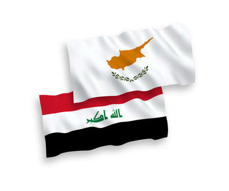 National vector fabric wave flags of Cyprus and Iraq isolated on white background. 1 to 2 proportion. 向量圖像
