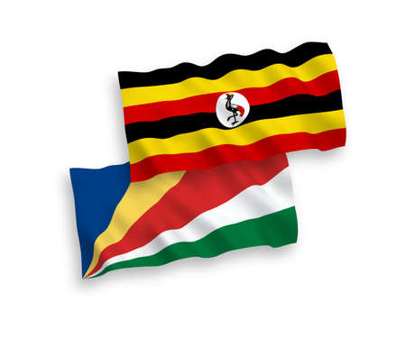 National vector fabric wave flags of Uganda and Seychelles isolated on white background. 1 to 2 proportion.