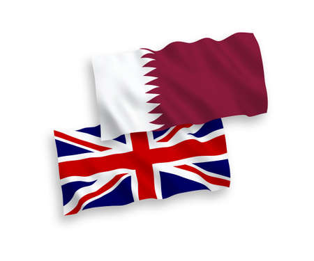 National vector fabric wave flags of Great Britain and Qatar isolated on white background. 1 to 2 proportion.