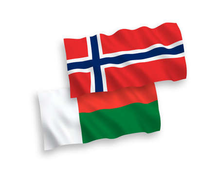 National vector fabric wave flags of Norway and Madagascar isolated on white background. 1 to 2 proportion.