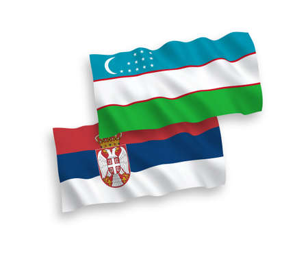 National vector fabric wave flags of Uzbekistan and Serbia isolated on white background. 1 to 2 proportion.