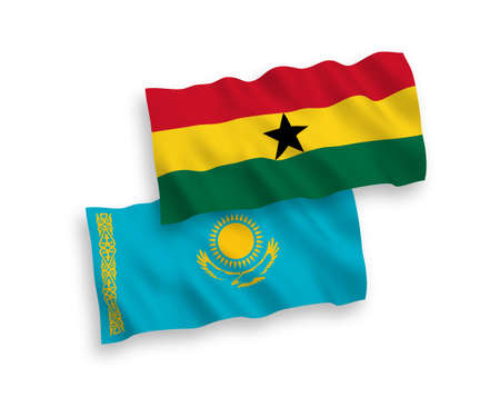 National vector fabric wave flags of Kazakhstan and Ghana isolated on white background. 1 to 2 proportion.