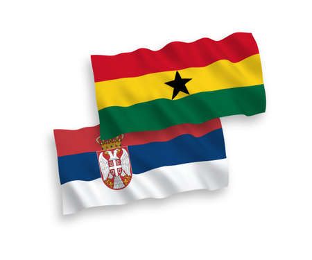 National vector fabric wave flags of Ghana and Serbia isolated on white background. 1 to 2 proportion.