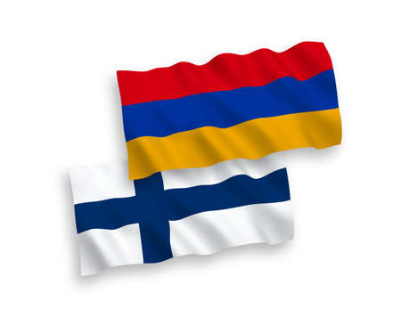 National vector fabric wave flags of Finland and Armenia isolated on white background. 1 to 2 proportion.