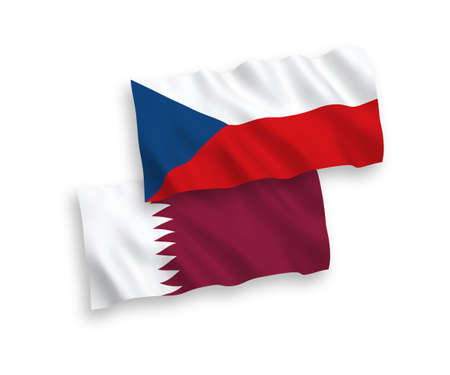 National vector fabric wave flags of Czech Republic and Qatar isolated on white background. 1 to 2 proportion.