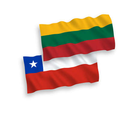National vector fabric wave flags of Lithuania and Chile isolated on white background. 1 to 2 proportion. Ilustração