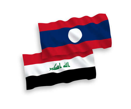 National vector fabric wave flags of Iraq and Laos isolated on white background. 1 to 2 proportion.